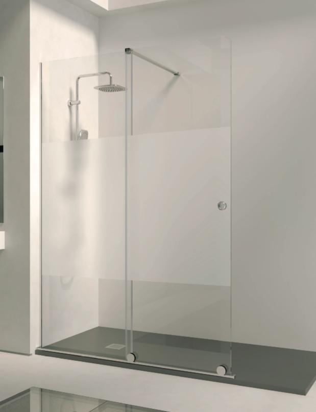 Mampara de ducha abierta de una fija y una corredera de aspecto minimalista
