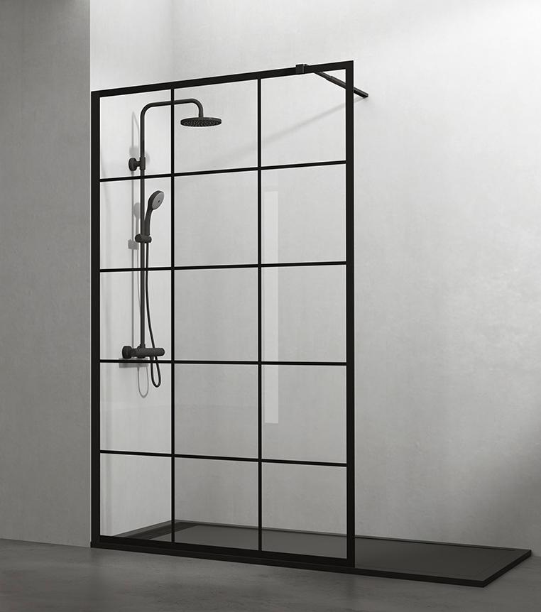 Panel fijo de ducha con perfiles negros y serigrafía de cuadrícula negra