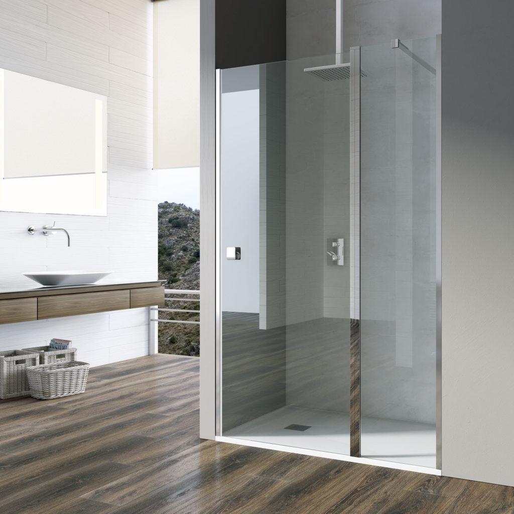 mampara de ducha de cristal minimalista