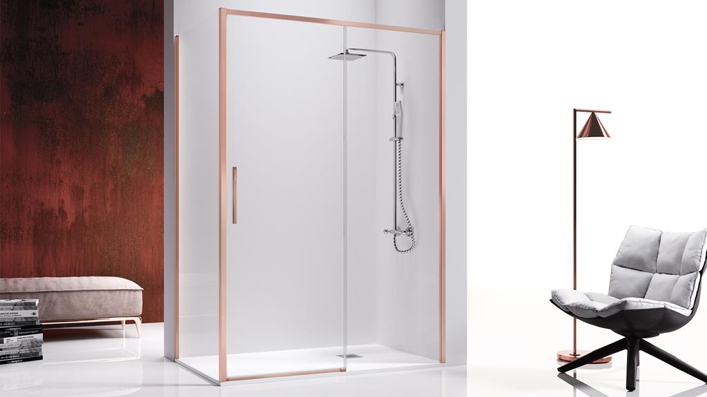 Mampara de ducha corredera con perfil oro rosa o cobrizo