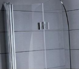 Mampara de bañera con cristales unidos por bisagra de latón