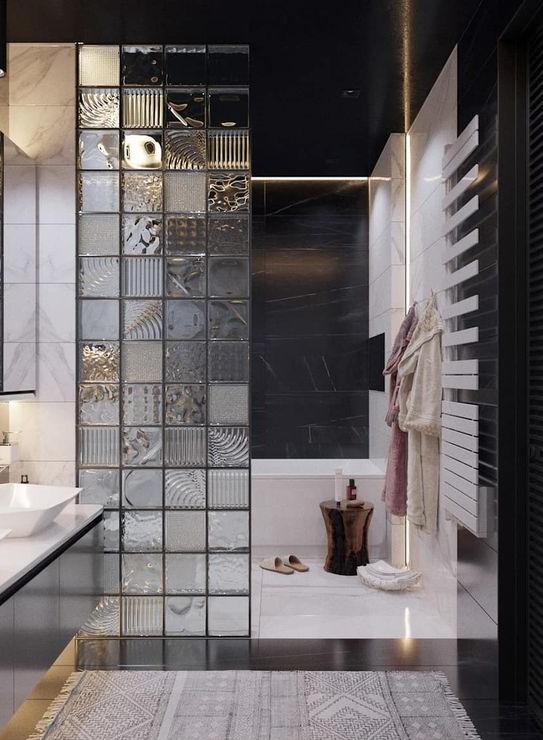 Mampara de ducha de pavés divisoria en cuarto de baño